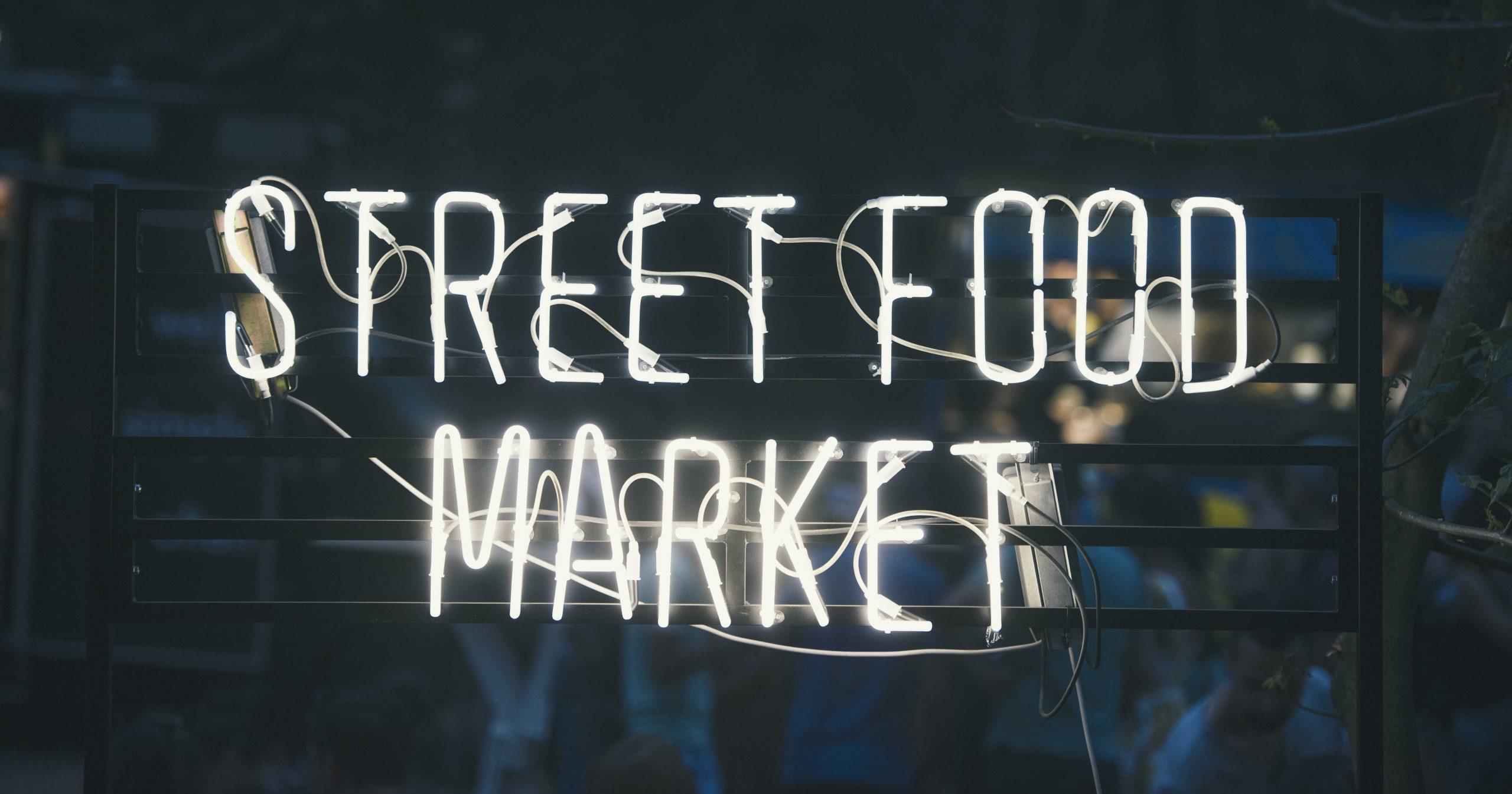 Street food market food trend graphic