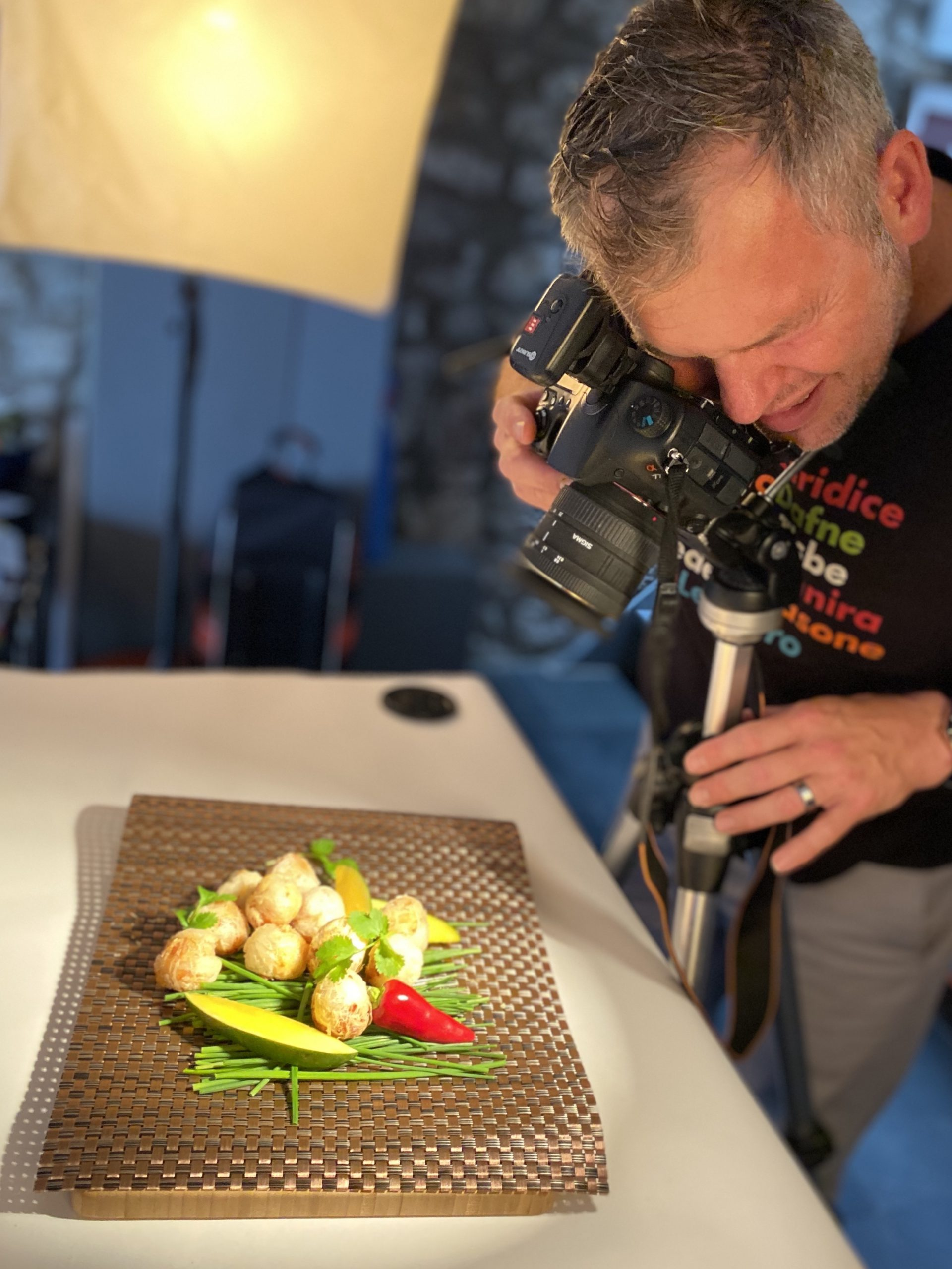 Food photography with photographer to show seafood and fish