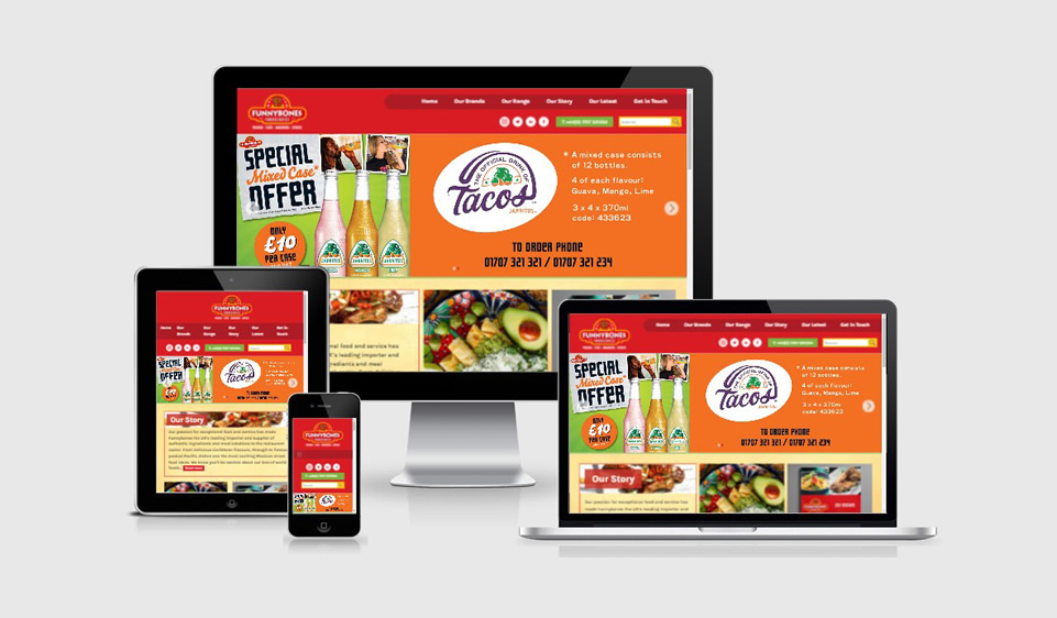 Website and graphic design for Funnybones food company on desktop and mobile device