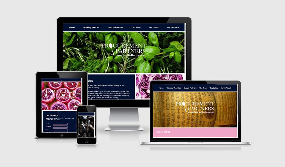 Responsive website design on laptop, mobile and tablet for food procurement company