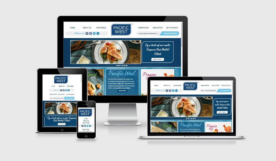 Responsive website design for Pacific West seafood food wholesaler and distributor