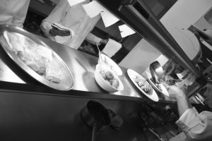 Chefs kitchen photoshoot on the pass in black and white